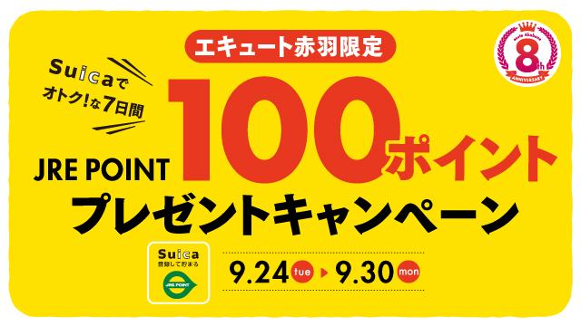 Suicaでオトク!な7日間 JREPOINT100ポイントプレゼントキャンペーン
